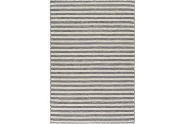 "4'3""X6' Outdoor Rug-Light Grey & White Thin Stripe"
