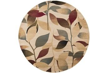"7'8"" Round Rug-Red & Brown Leaves"