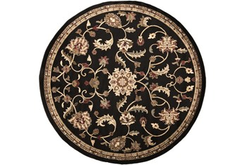 "7'8"" Round Rug-Black Multi Traditional"
