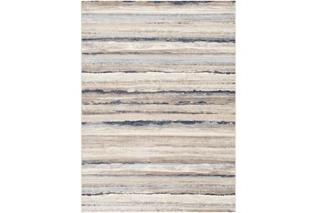 """5'3""""X7'1"""" Rug-Blue & Taupe Muted Stripes"""