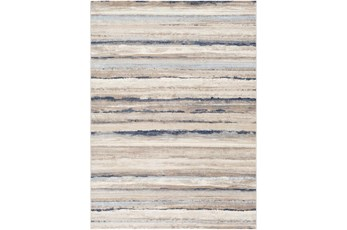 """6'6""""X9' Rug-Blue & Taupe Muted Stripes"""