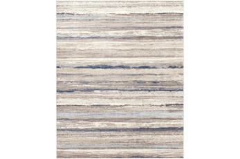 """7'8""""X10' Rug-Blue & Taupe Muted Stripes"""