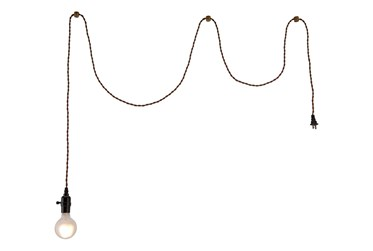 2.2X3.7 Brass Ceiling Lamp With Braided Wire