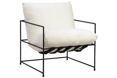 Cream + Metal Sling Cushion Accent Chair