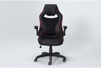 Theory Black Gaming Chair With Red Trim