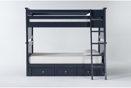 Mateo Blue Twin Over Twin Bunk Bed With 3 Drawer Storage Unit