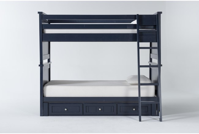 Mateo Blue Twin Over Twin Bunk Bed With 3 Drawer Storage Unit - 360