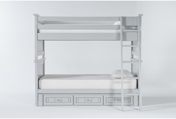 Mateo Grey Twin Over Twin Bunk Bed With 3 Drawer Storage Unit