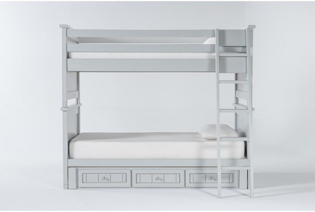 Mateo Grey Twin Over Twin Bunk Bed With 3 Drawer Storage Unit - 360