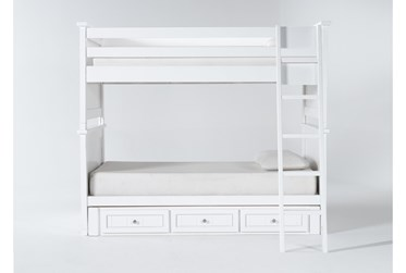 Mateo White Twin Over Twin Bunk Bed With 3 Drawer Storage Unit
