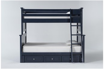 Mateo Blue Twin Over Full Bunk Bed With 3 Drawer Storage Unit