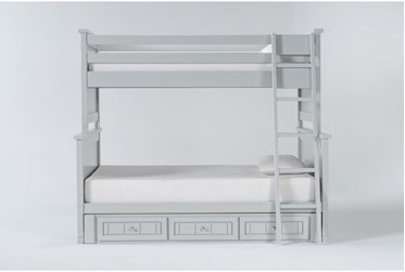Mateo Grey Twin Over Full Bunk Bed With 3 Drawer Storage Unit
