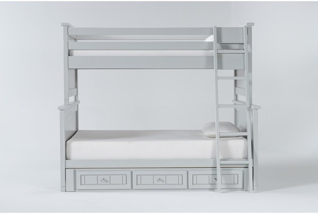 Mateo Grey Twin Over Full Bunk Bed With 3 Drawer Storage Unit - 360