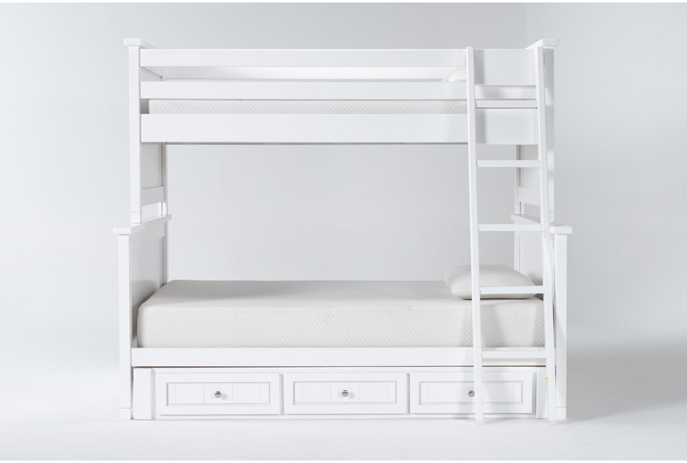 Mateo White Twin Over Full Bunk Bed With 3 Drawer Storage Unit