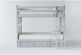 Mateo Grey Full Over Full Bunk Bed With 3 Drawer Storage Unit