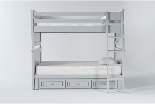 Mateo Grey Full Over Full Bunk Bed With 3 Drawer Storage Unit - 360
