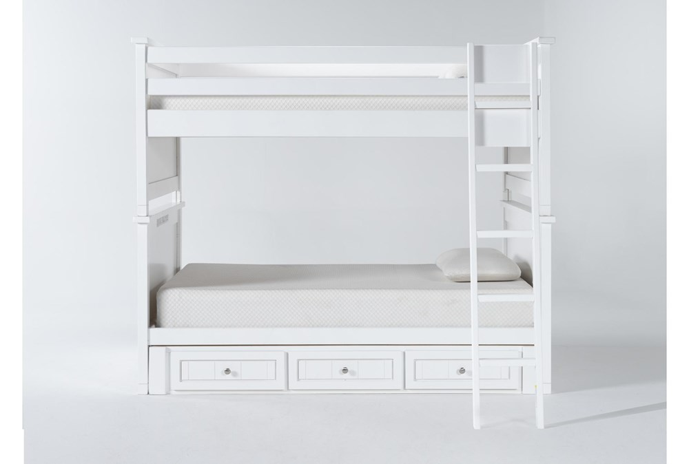 Mateo White Full Over Full Bunk Bed With 3 Drawer Storage Unit