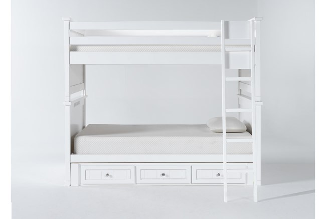 Mateo White Full Over Full Bunk Bed With 3 Drawer Storage Unit - 360