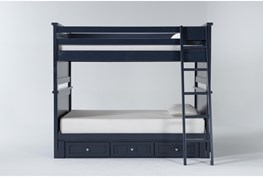 Mateo Blue Full Over Full Bunk Bed With 3 Drawer Storage Unit