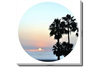 36X36 Coastal Sunset Palm With Gallery Wrap Canvas
