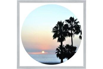 26X26 Coastal Sunset Palm With Silver Frame