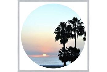 38X38 Coastal Sunset Palm With Silver Frame