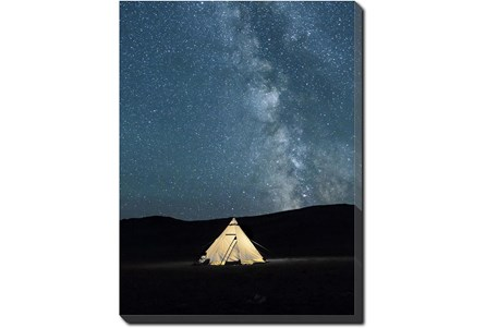 30X40 Remote Accommodations Under Night Sky With Gallery Wrap Canvas - Main