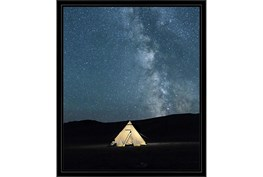 22X26 Remote Accommodations Under Night Sky With Black Frame