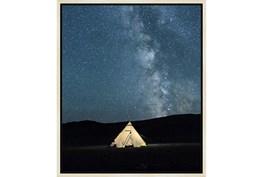 22X26 Remote Accommodations Under Night Sky With Birch Frame