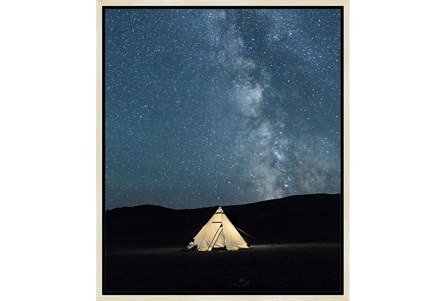 22X26 Remote Accommodations Under Night Sky With Birch Frame - Main