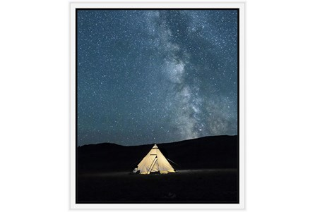 22X26 Remote Accommodations Under Night Sky With White Frame - Main