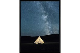32X42 Remote Accommodations Under Night Sky With Black Frame