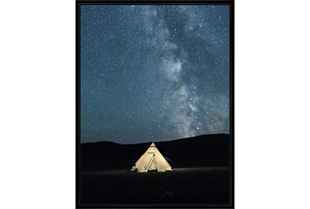32X42 Remote Accommodations Under Night Sky With Black Frame - Main