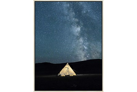 32X42 Remote Accommodations Under Night Sky With Birch Frame - Main