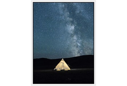 32X42 Remote Accommodations Under Night Sky With White Frame - Main