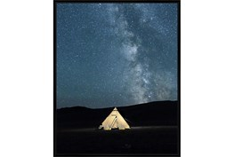 42X52 Remote Accommodations Under Night Sky With Black Frame