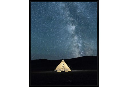 42X52 Remote Accommodations Under Night Sky With Black Frame - Main