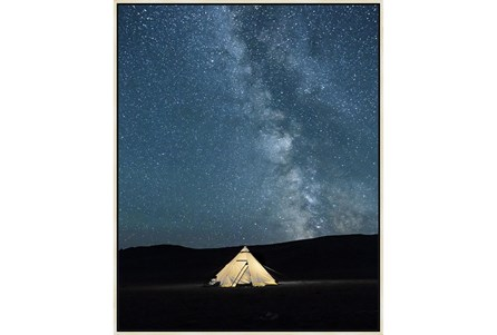42X52 Remote Accommodations Under Night Sky With Birch Frame - Main