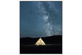42X52 Remote Accommodations Under Night Sky With White Frame