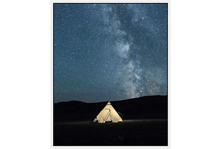 42X52 Remote Accommodations Under Night Sky With White Frame - Main