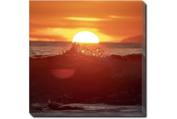 24X24 Ocean Sunset With Gallery Wrap Canvas