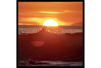 26X26 Ocean Sunset With Black Frame