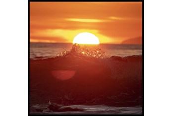 47X47 Ocean Sunset With Black Frame