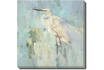 24X24 White Heron With Gallery Wrap Canvas