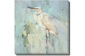 45X45 White Heron With Gallery Wrap Canvas