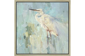 26X26 White Heron With Champagne Frame