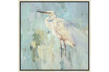26X26 White Heron With Birch Frame