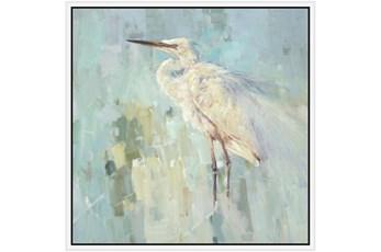 38X38 White Heron With White Frame