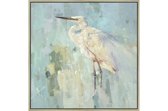 47X47 White Heron With Champagne Frame