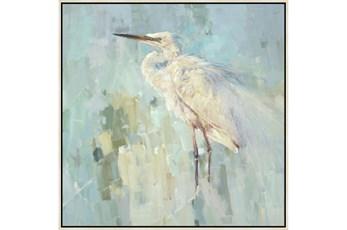 47X47 White Heron With Birch Frame